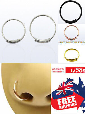 AU2.95 • Buy S925 Sterling Silver 22g Endless Hoop Ring Seamless Nose Ear Body Piercing 1pc