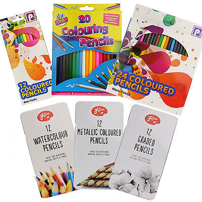 PENCILS - Colouring Watercolour Graded Metallic Set  Sketch Adult Colour Therapy • 2.49£