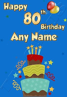 £3.19 • Buy PERSONALISED 80th AGE 80 ANY NAME IDEAL FOR DAD GRANDAD UNCLE MALE BIRTHDAY CARD