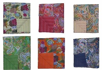 Indian Handmade Embroidery Twin Size Kantha Blanket Throw Bedspread 150cmx225cm • 26.99£