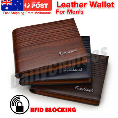 AU8.89 • Buy Men's Brown Leather RFID Blocking Wallet ! AU STOCK! Melbourne !
