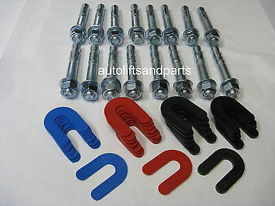 $ CDN77.77 • Buy 2 Post  Or 4 Post Auto Lift Wedge Anchors + Leveling Shims Combo Kit 16 PC