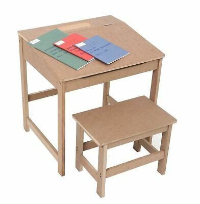 Children's School Study Desk And Stool, MDF, Natural (for Kids 3-8 Years Old) • 45.95£