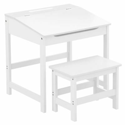 Children's School Study Desk And Stool, MDF, White (for Kids 3-8 Years Old) • 55.98£