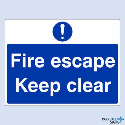 Fire Escape Keep Clear Safety Sign • 6.85£