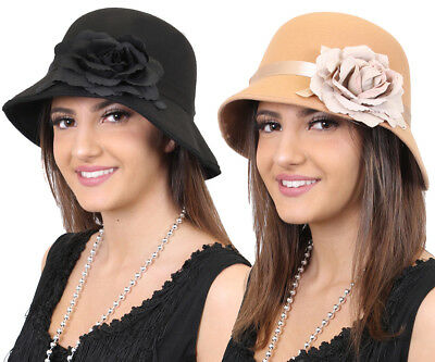 1920's Cloche Hat With Flower Ladies Vintage Gatsby Girl Fancy Dress Costume  • 3.99£