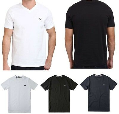 0d5511b83 Fred Perry Men s V-neck T-shirt Black 100% Cotton Solid Short Sleeve
