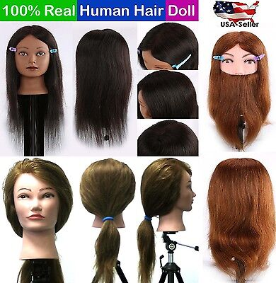 $5.99 • Buy Cosmetology Mannequin Head 100% Real Human Hair Hairdressing Training Doll USA