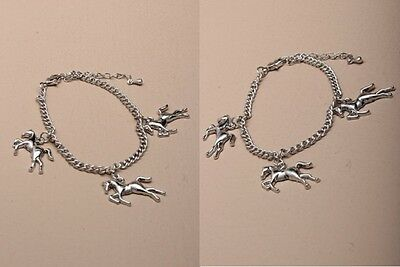 £2.20 • Buy Silver Plated  Chain Bracelet With Horse Charms.- JTY149