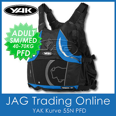 YAK KURVE BLACK/BLUE 55N ADULT S/M 40-70KG PFD Kayak Life Jacket Buoyancy Aid • 66.70£