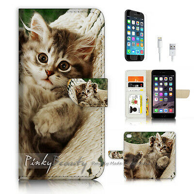 AU12.99 • Buy ( For IPhone 7 Plus ) Wallet Case Cover P3311 Cute Kitty Cat