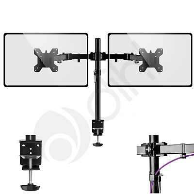 """£19.99 • Buy Double Twin Arm Desk Mount Bracket LCD Computer Monitor Stand 13""""-27"""" Screen TV"""