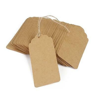 100pcs Blank Kraft Paper Card Wedding Label Baking Listed Tag Gift Tags Twine  • 3.69£
