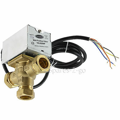 TOWER VAL322MP 22mm 3 Port Motorised Mid Position Valve Central Heating Control • 39.69£