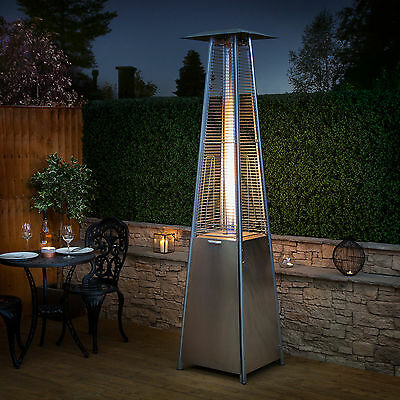 Real Flame Gas Patio Heater Glass Stainless Steel Outdoor Garden - Fire Mountain • 199.99£