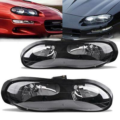 $91.50 • Buy For 1998-2002 Chevy Camaro Z28 Z28 SS Black Clear Headlights Headlamps Assembly