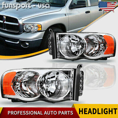 $72.39 • Buy For 2002-2005 Dodge Ram 1500 2500 3500 Chrome Headlights Headlamps Left+Right