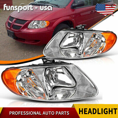 $66.20 • Buy For 01-07 Dodge Caravan Town & Country 01-03 Voyager Chrome Headlights Headlamps