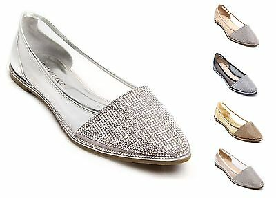 New Womens Diamante Sparkly Flat Point Ballerina Shoes • 14.99£