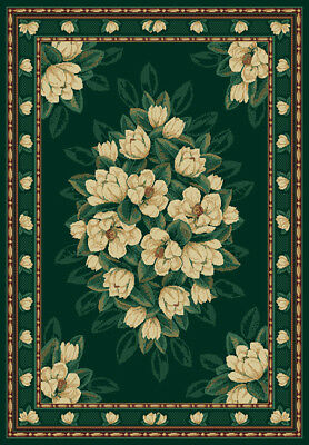 $34.99 • Buy HUNTER Green IVORY Magnolia FLORAL Carpet TRADITIONAL Country COTTAGE Area RUG