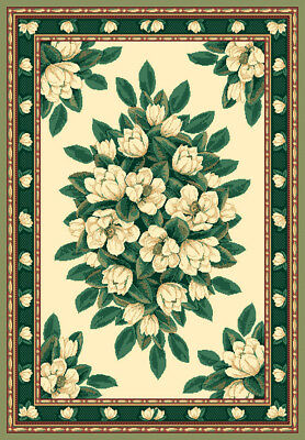 $59 • Buy IVORY Cream GREEN Magnolia FLORAL Carpet TRADITIONAL Country COTTAGE Area RUG