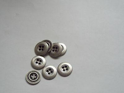 10pc 15mm Pewter Colour Metal Cardigan Trouser Shirt Baby Sewing Buttons 0424 • 3.70£