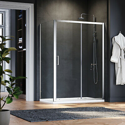 Shower Enclosure And Tray Wall In Cubicle Screen Easy Clean Glass Sliding Door  • 209.99£