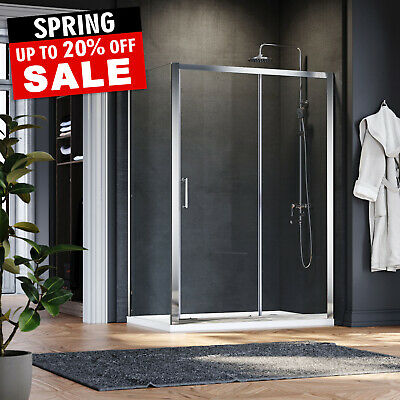 Sliding Door Shower Enclosure And Tray Cubicle Screen Easy Clean Glass Bathroom • 154.69£