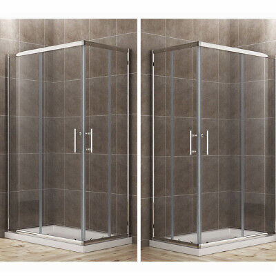 Sliding Shower Enclosure And Tray Corner Entry 6mm Glass Cubicle Various Sizes • 203.99£