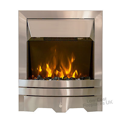ELECTRIC SILVER FLAT FLUSH WALL REMOTE PEBBLE COAL 2kW LED FIRE FREESTANDING • 187.99£
