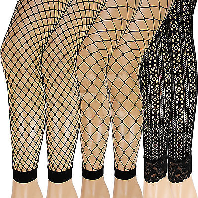 New Womens Ladies Fishnet Lacey Fence Whale Patterned Footless Pantyhose Tights  • 4.95£