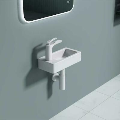 Compact Small Cloakroom Wash Basin Sink Ceramic 360 X 180 Mm Left Hand Tap • 34.95£