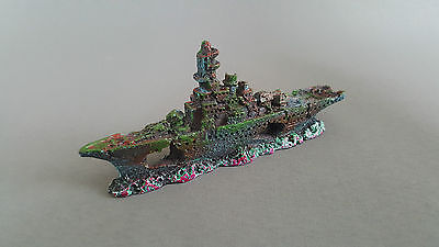 Fish Tank Aquarium Decoration Ship Wreck 14.5x6.5x3cm Boat Ceramic Water • 3.39£