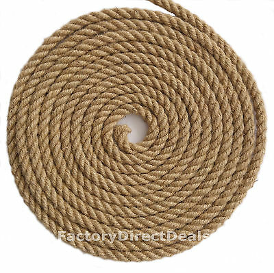 12 Mm Thick X 5m  100% Natural Fibre Jute Hessian Rope Twisted Cord Craft DIY  • 9.99£