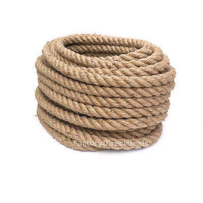 5m  Of 20 Mm Natural Jute Hessian Rope Twisted Cord Garden Decking Art Craft DIY • 15.99£