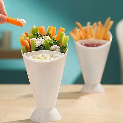 2 X SNACK CONE + DIP HOLDER French Fries/Chip/Bites/Finger Food/Sauce/Bowl/Pair • 7.21£