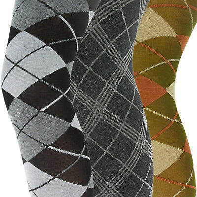 New Womens Ladies Diamond Patterned Thick Lycra 70 Denier Opaque Tights Size • 3.95£