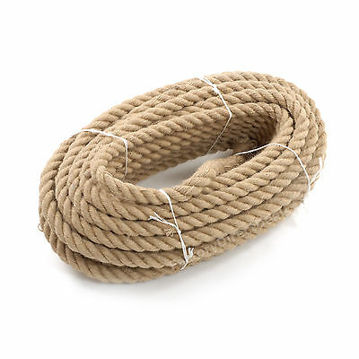 40mm Thick Heavy Duty Jute Rope Twisted Braided Garden Decking Cord 12345678910 • 49.99£