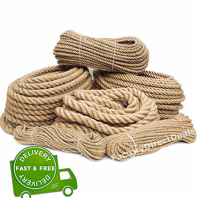 100% Pure Natural Hessian Jute Rope Cord Twine Braided Twisted Price Per Metre • 3.99£