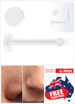 AU2.75 • Buy 1pc Clear Acrylic Nose Bone Stud/Ring Retainer With Flat Top 20g No See No Pain
