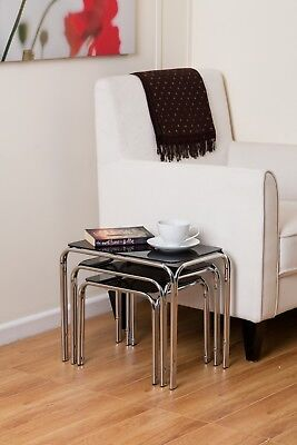 Set Of 3 Rectangle Nesting Tables With Black Glass Chrome Legs- GNT01B • 39.99£