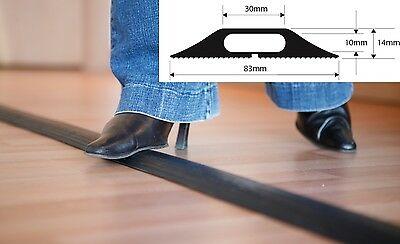 Black Rubber Floor Cable Wire Cover Tidy Protector Safety Trunking Ramp ProfileB • 16.95£