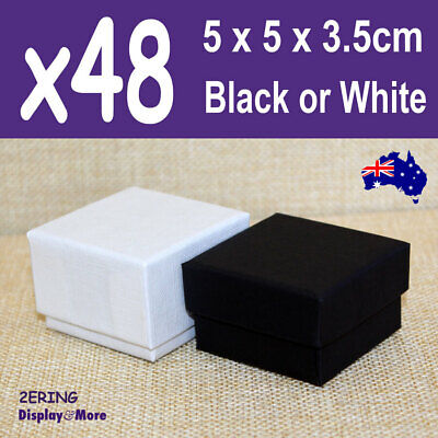 AU38.60 • Buy Ring Box JEWELLERY Gift Case | 48pcs BULK 5x5cm | PLAIN Black Ivory | AUS Stock