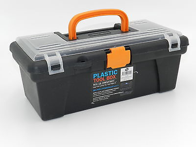 12  Plastic Tool Box Handle Clear Lid Multi Storage Container Bit Compartments • 6.03£