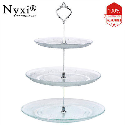 £10.99 • Buy Nyxi 3 Tier Glass Cake Stand Afternoon Tea Wedding Plate Party Tableware Display