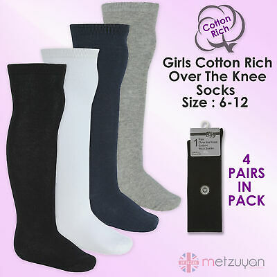 BAY 6 Kids Childrens Girls School Socks 4 Pairs High Over The Knee Cotton Rich • 5.99£