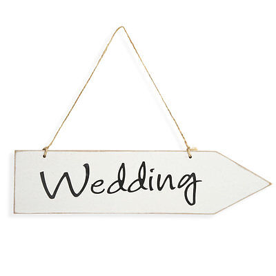 Wedding Arrow Sign Plaque Wooden Party White Shabby Chic • 4.98£