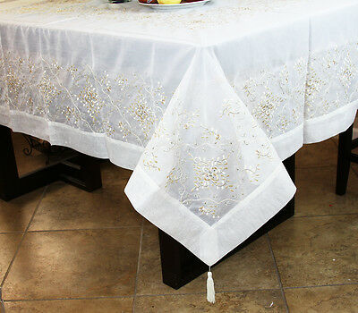 $35 • Buy Rectangle 72x144  Embroidered Lace Embroidery Tablecloth 12 Napkin Wedding Party