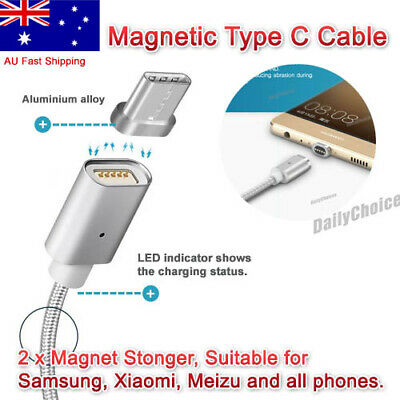 AU8.69 • Buy FAST Charge MAGNETIC USB 3.1 Type C Charging Cable Galaxy S8 / Plus Note 8 HTC