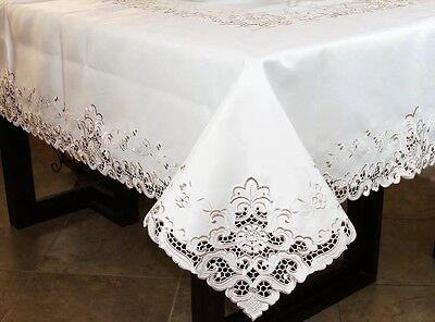$55 • Buy Embroidery Cutwork Lace Rectangle Polyester Tablecloth 12 Napkins 72x108  Events